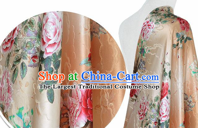 Chinese Classical Cloud Peony Pattern Design Beige Silk Fabric Asian Traditional Hanfu Mulberry Silk Material
