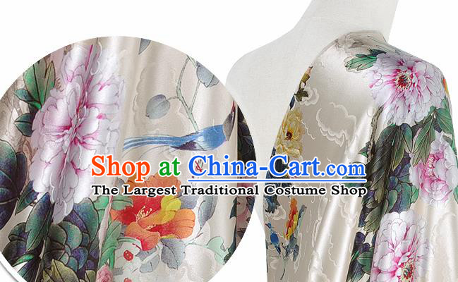 Chinese Classical Peony Pattern Design Beige Silk Fabric Asian Traditional Hanfu Mulberry Silk Material