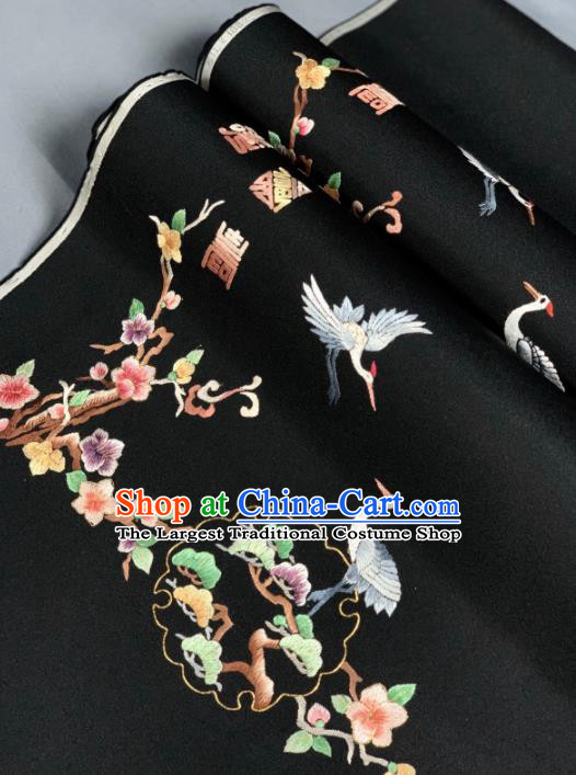 Chinese Classical Embroidered Crane Pattern Design Black Silk Fabric Asian Traditional Hanfu Brocade Material