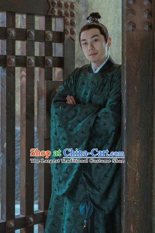Ancient Chinese Drama Ming Dynasty Crown Prince Zhu Zhanji Replica Costumes and Headpiece Complete Set