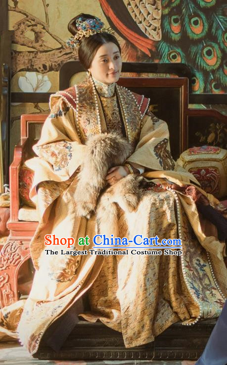 Ancient Drama Chinese Ming Dynasty Empress Zhang Yan Replica Costumes and Headpiece for Women