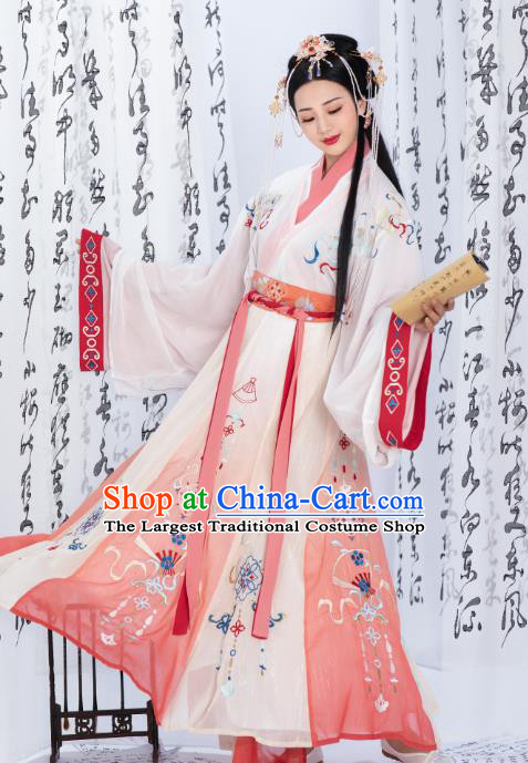 Chinese Traditional Jin Dynasty Infanta Dress Ancient Royal Princess Historical Costumes for Women