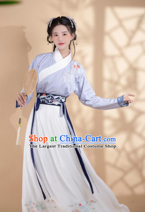 Chinese Traditional Ancient Ming Dynasty Young Lady Historical Costumes for Women