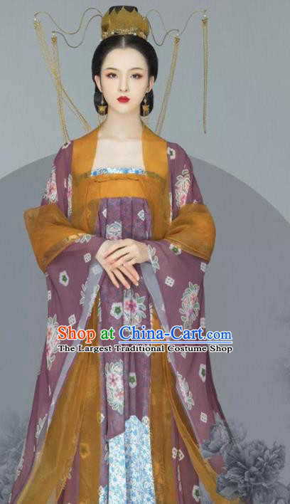 Traditional Chinese Tang Dynasty Imperial Consort Hanfu Dress Ancient Noble Lady Replica Costumes and Headpiece for Women