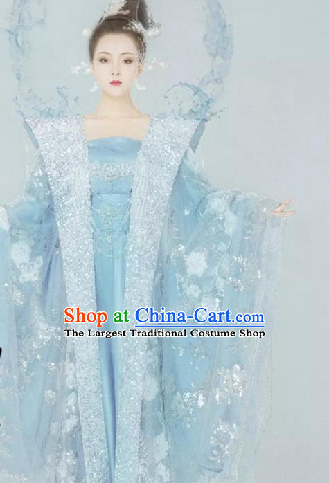 Traditional Chinese Tang Dynasty Empress Blue Hanfu Dress Ancient Queen Replica Costumes for Women