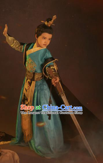 Chinese Ancient Drama Children Prince Clothing Traditional Han Dynasty Swordsman Replica Costumes for Kids