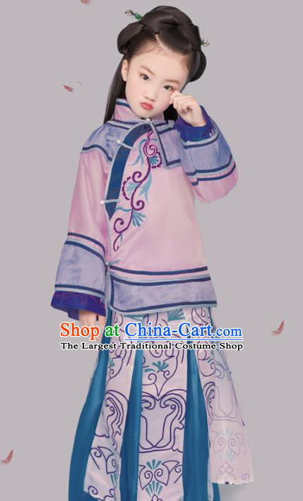 Chinese Ancient Patrician Children Pink Hanfu Dress Traditional Qing Dynasty Princess Replica Costumes for Kids