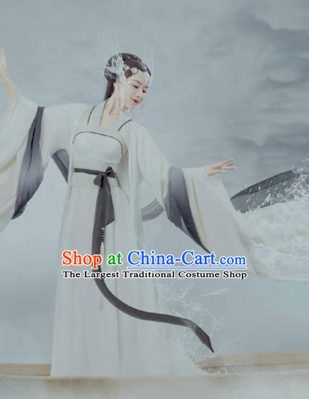 Chinese Ancient Fairy Princess White Hanfu Dress Traditional Tang Dynasty Infanta Replica Costumes for Women