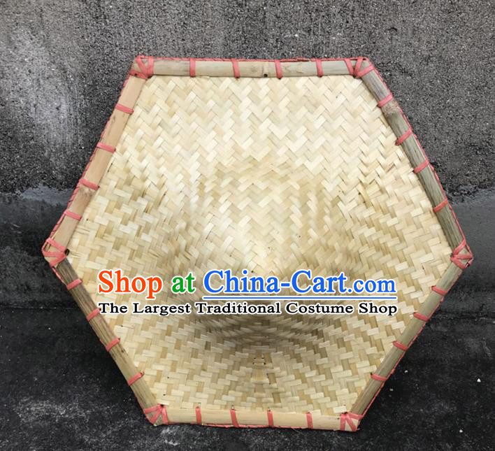 Handmade Chinese Hexagonal Straw Hat Traditional Bamboo Hat Craft
