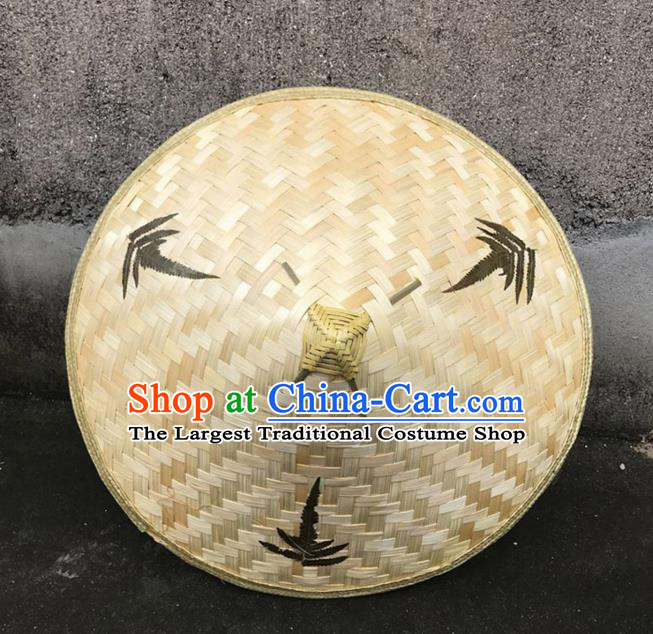 Handmade Chinese Printing Leaf Straw Hat Traditional Bamboo Hat Craft