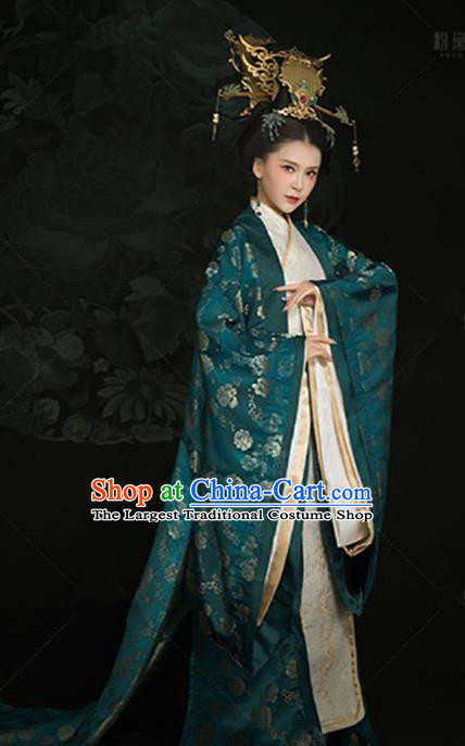 Chinese Ancient Imperial Concubine Embroidered Dress Traditional Han Dynasty Court Queen Costumes and Headpiece for Women
