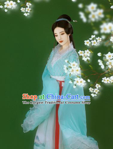 Chinese Ancient Goddess Blue Hanfu Dress Traditional Tang Dynasty Princess Costumes for Women