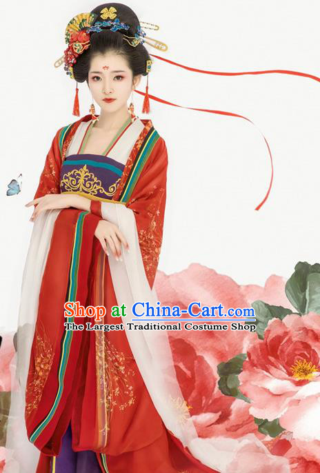 Chinese Ancient Royal Consort Red Hanfu Dress Traditional Tang Dynasty Empress Costumes for Women