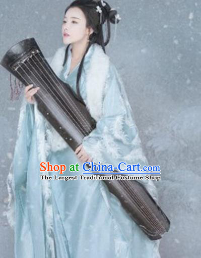 Chinese Ancient Princess Blue Hanfu Dress Traditional Ming Dynasty Imperial Consort Costumes for Women