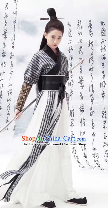 Chinese Ancient Female Swordsman Hanfu Dress Traditional Tang Dynasty Chivalrous Expert Costume for Women