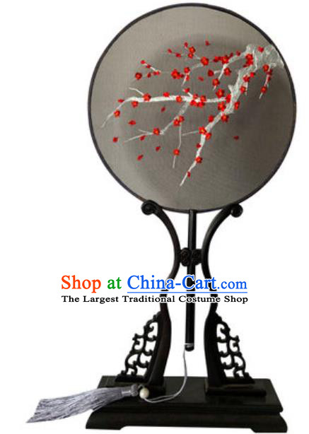 Chinese Traditional Embroidered Plum Black Palace Fans Handmade Round Fan for Women