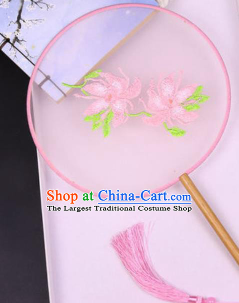 Chinese Traditional Embroidered Peony Pink Palace Fans Handmade Silk Round Fan for Women