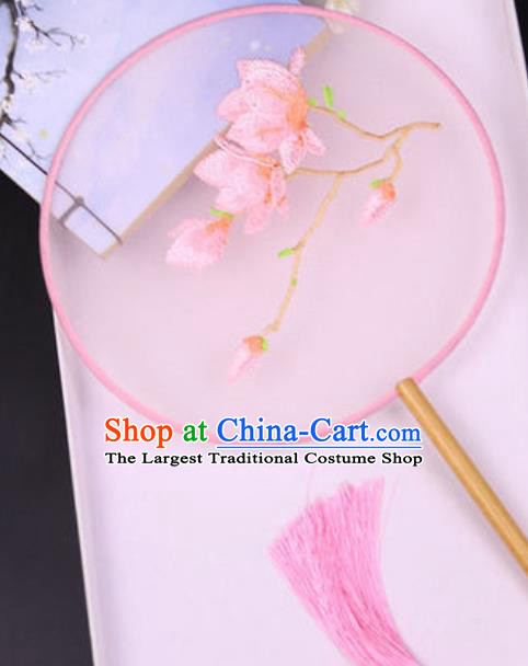 Chinese Traditional Embroidered Mangnolia Pink Palace Fans Handmade Silk Round Fan for Women