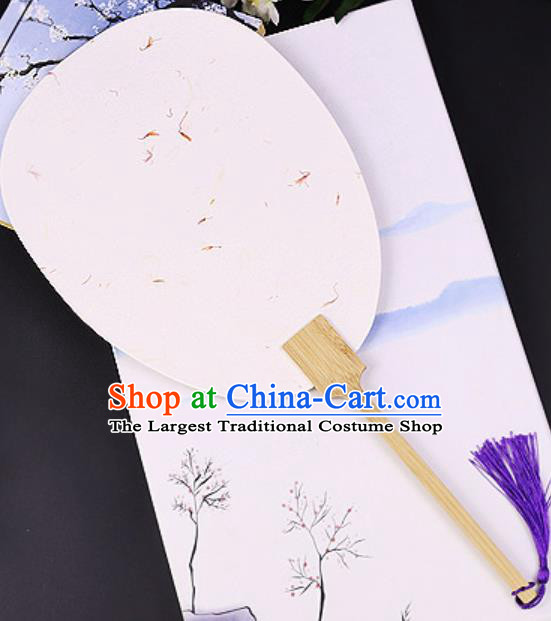 Chinese Traditional White Art Paper Palm Leaf Fans Handmade Round Fan for Women