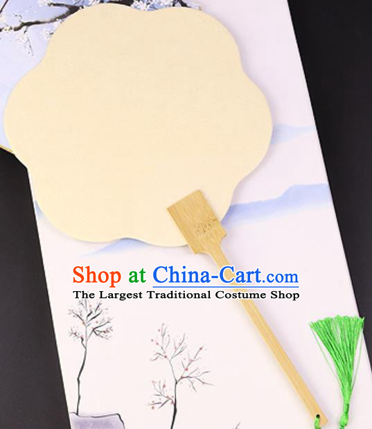 Chinese Traditional Yellow Art Paper Palm Leaf Fans Handmade Round Fan for Women