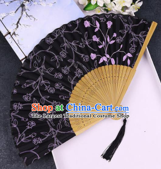 Chinese Traditional Classical Dance Printing Black Silk Folding Fans Handmade Accordion Bamboo Fan