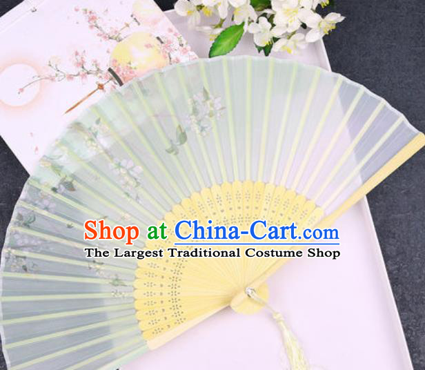 Chinese Traditional Classical Dance Printing Green Silk Folding Fans Handmade Accordion Bamboo Fan
