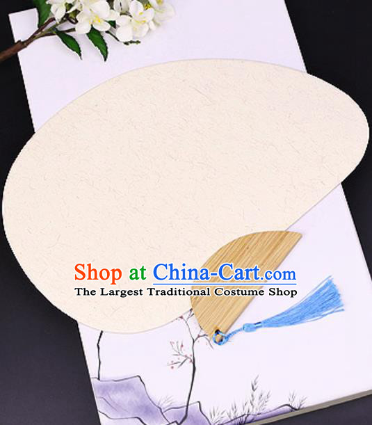 Chinese Traditional Flaxen Art Paper Fans Handmade Bamboo Plover Fan