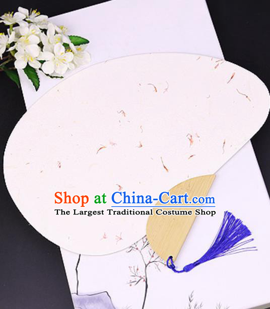 Chinese Traditional Beige Art Paper Fans Handmade Bamboo Plover Fan