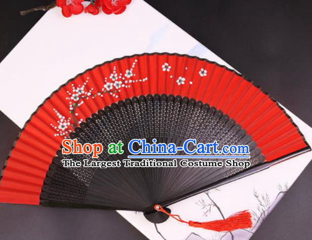 Chinese Traditional Painting White Plum Blossom Red Silk Folding Fans Handmade Accordion Classical Dance Bamboo Fan