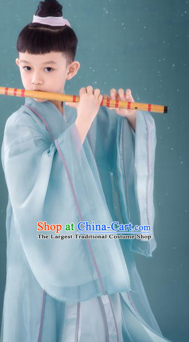 Chinese Ancient Children Swordsman Green Hanfu Clothing Traditional Jin Dynasty Chivalrous Expert Costume for Kids
