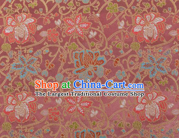 Chinese Classical Twine Lotus Pattern Design Rubber Red Brocade Fabric Asian Traditional Hanfu Satin Material