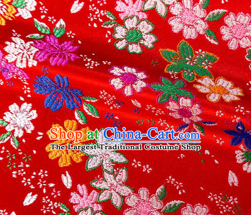 Japanese Traditional Sakura Pattern Design Red Brocade Fabric Asian Kimono Tapestry Satin