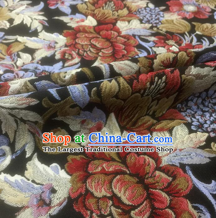 Chinese Classical Peony Flowers Pattern Design Black Brocade Fabric Asian Traditional Hanfu Satin Material