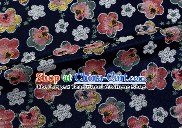 Japanese Traditional Oriental Cherry Pattern Design Navy Brocade Fabric Asian Kimono Tapestry Satin