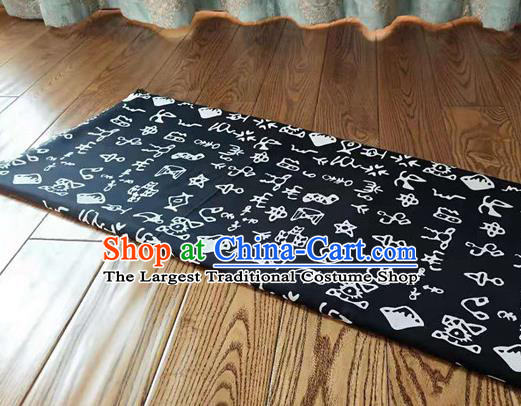 Chinese Classical Oracle Inscriptions Pattern Design Navy Fabric Asian Traditional Hanfu Cloth Material