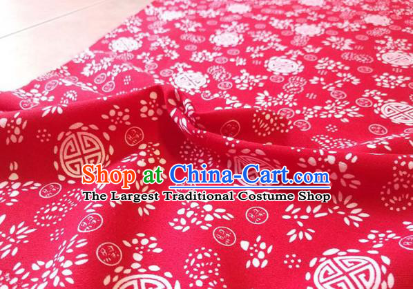 Chinese Classical Lucky Pattern Design Red Fabric Asian Traditional Hanfu Cloth Material