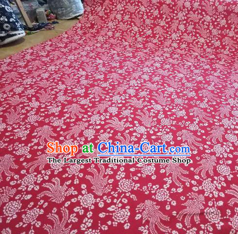 Chinese Classical Phoenix Pattern Design Red Fabric Asian Traditional Hanfu Cloth Material