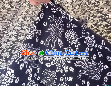 Chinese Classical Phoenix Pattern Design Navy Fabric Asian Traditional Hanfu Cloth Material