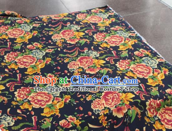 Chinese Classical Phoenix Peony Pattern Design Navy Fabric Asian Traditional Hanfu Cloth Material