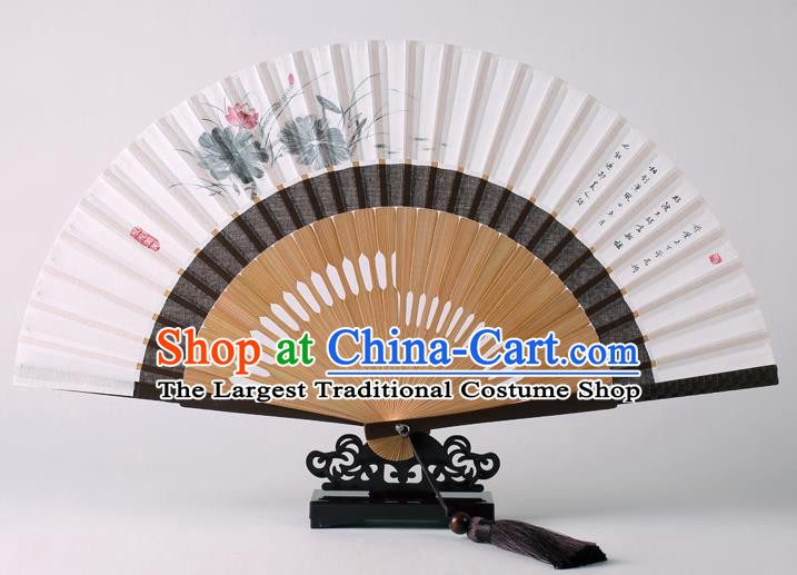 Traditional Chinese Ink Painting Lotus Folding Fan China Bamboo Fan Oriental Fan