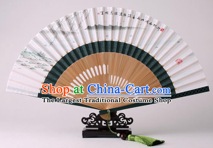 Traditional Chinese Ink Painting West Lake View Folding Fan China Bamboo Fan Oriental Fan