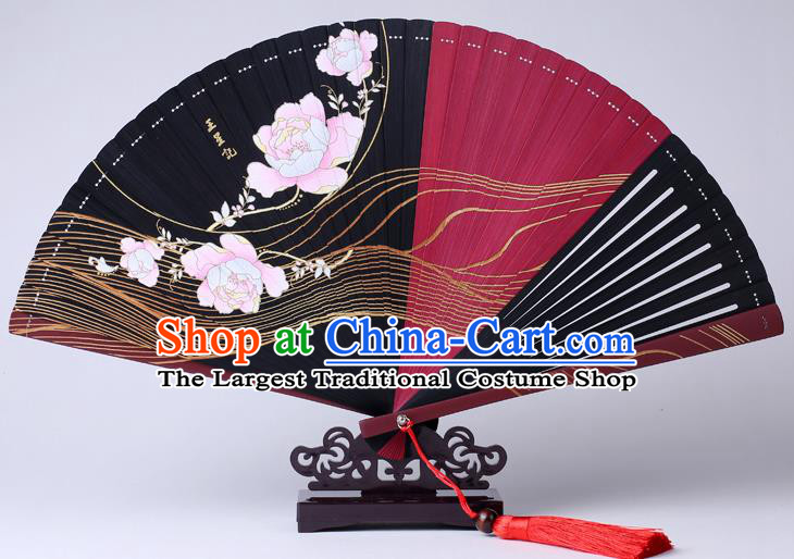 Traditional Chinese Printing Flowers Black Folding Fan China Bamboo Fan Oriental Fan
