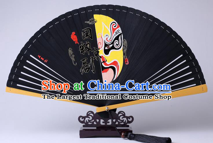 Traditional Chinese Printing Facial Makeup Black Folding Fan China Bamboo Fan Oriental Fan