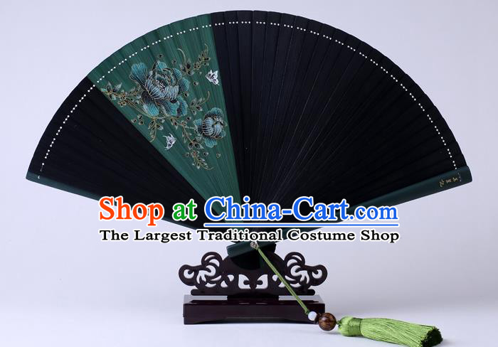 Traditional Chinese Printing Flowers Deep Green Folding Fan China Bamboo Fan Oriental Fan