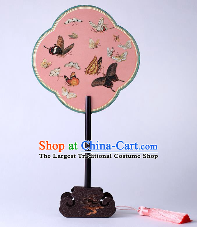 Traditional Chinese Printing Butterfly Pink Palace Fan China Classical Hanfu Silk Fans