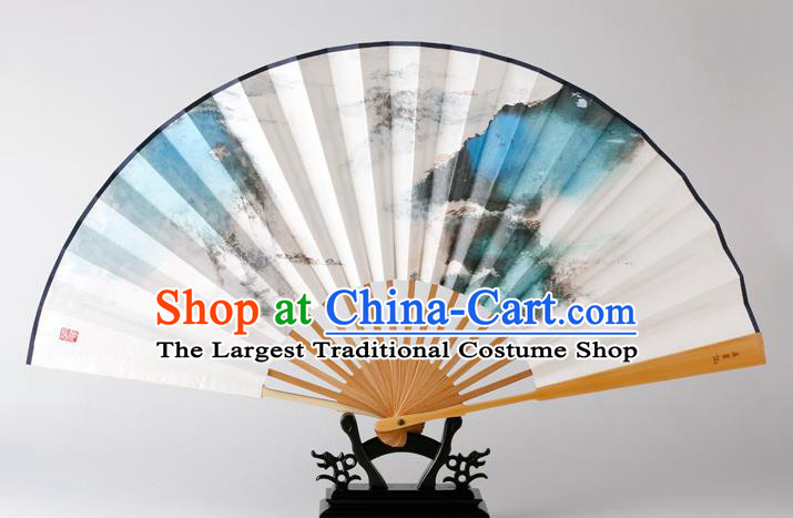Traditional Chinese Handmade Landscape Painting Paper Folding Fan China Bamboo Fan Oriental Fan