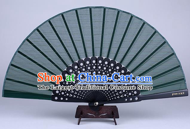 Traditional Chinese Handmade Green Silk Folding Fan China Accordion Fan Oriental Fan
