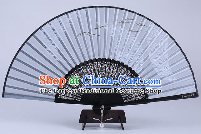 Traditional Chinese Handmade Printing Fishes Silk Folding Fan China Accordion Fan Oriental Fan
