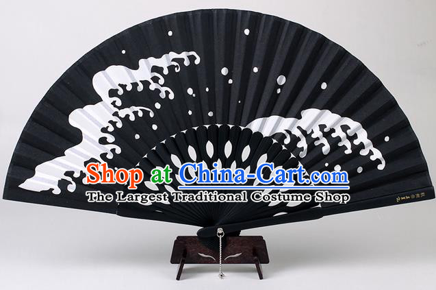 Traditional Chinese Handmade Printing Wave Black Silk Folding Fan China Accordion Fan Oriental Fan