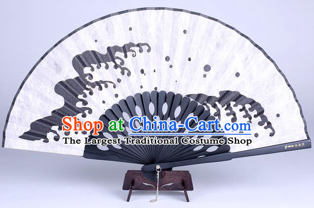 Traditional Chinese Handmade Printing Wave White Silk Folding Fan China Accordion Fan Oriental Fan